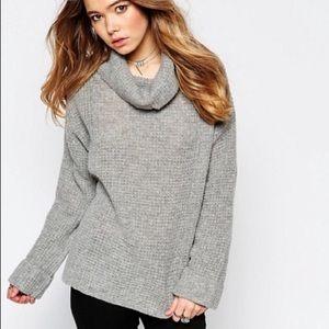 Free People Gray Sidewinder Slouchy Sweater